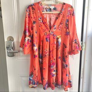 Umgee orange floral women's dress. Size small